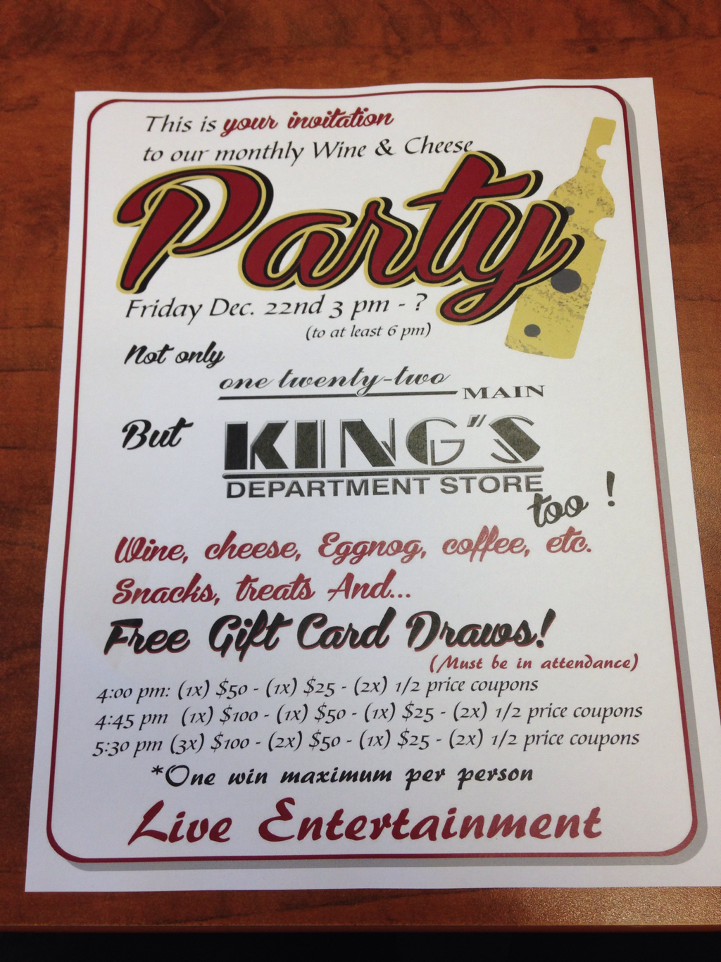 Wine and Cheese party - KING\'S DEPARTMENT STORE